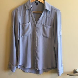 Gray Express Career Full Button Down Long Sleeve